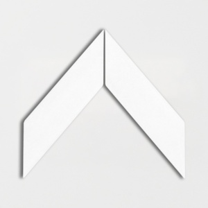 Royal White Glossy Chevron Ceramic Tiles 2x6