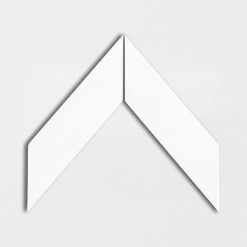 Royal White Glossy Chevron Ceramic Tiles 2×6