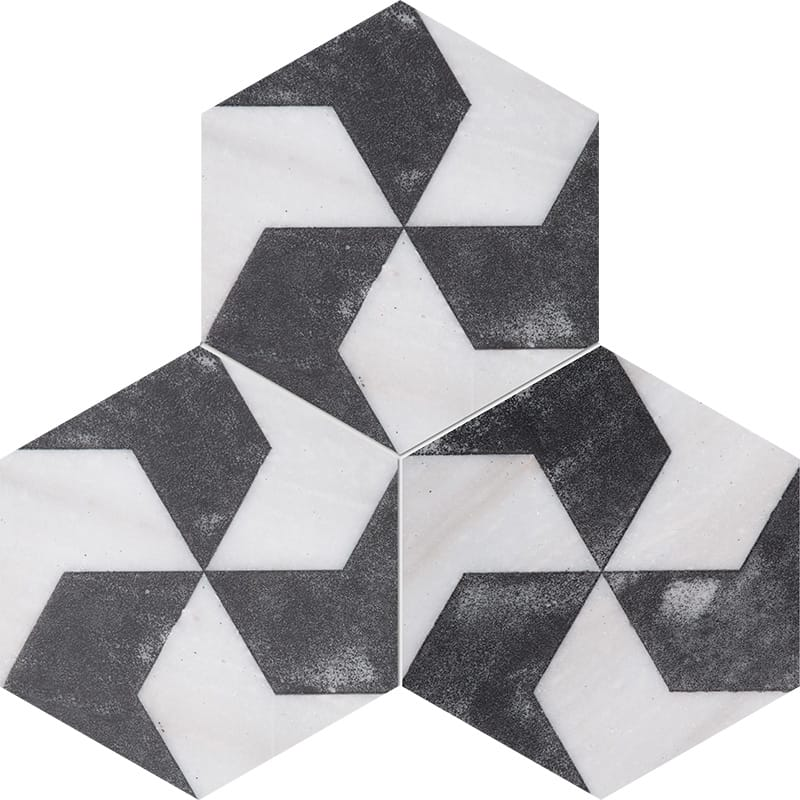 Country Floors Of America Llc: Fantasy White Diced Polygons Marble Tiles 8x8