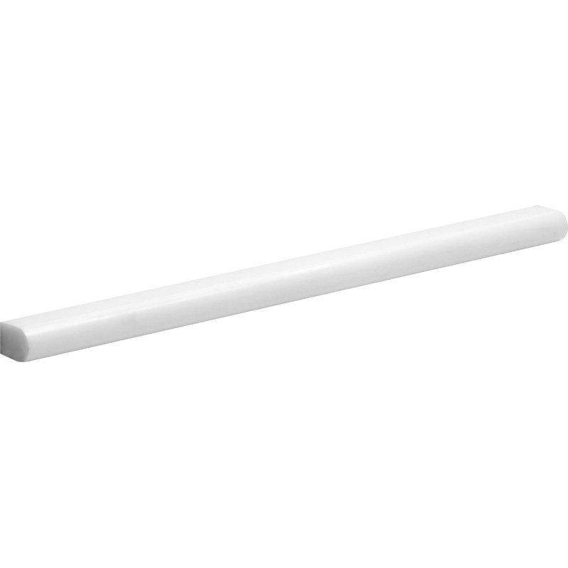 Snow White Polished 1/2x12 Pencil Liner Marble Mouldings