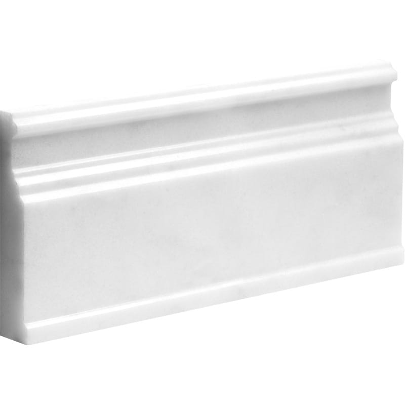 Elegant White Polished 5 1/16x12 Base Marble Mouldings