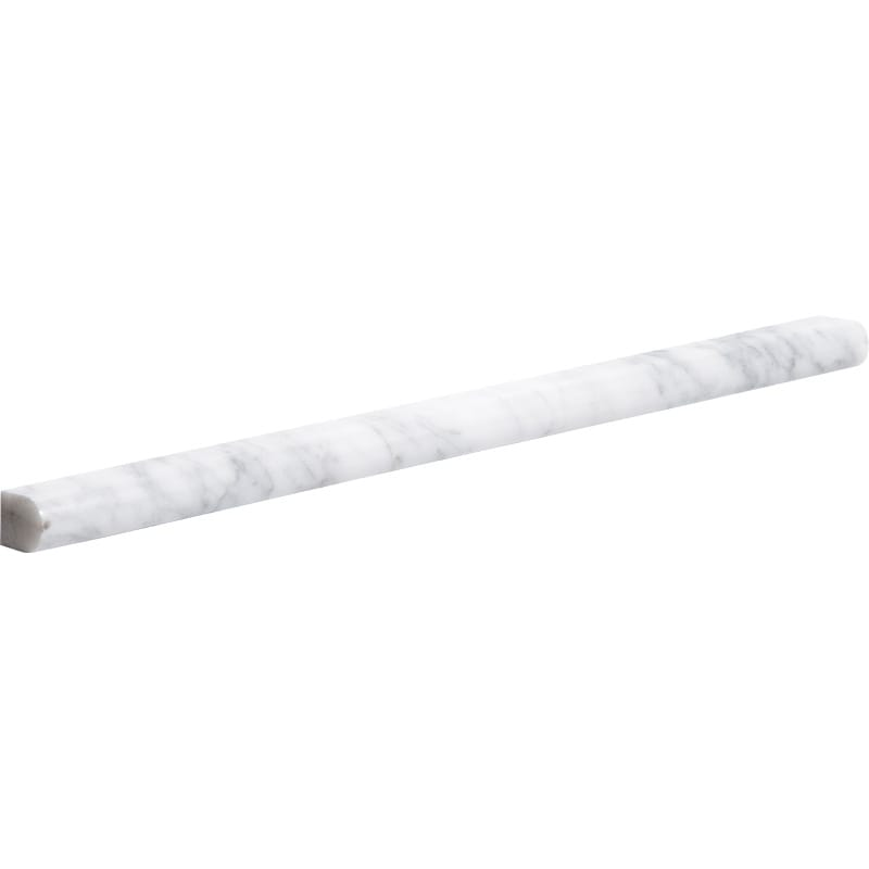 White Carrara C Honed 1/2x12 Pencil Liner Marble Mouldings