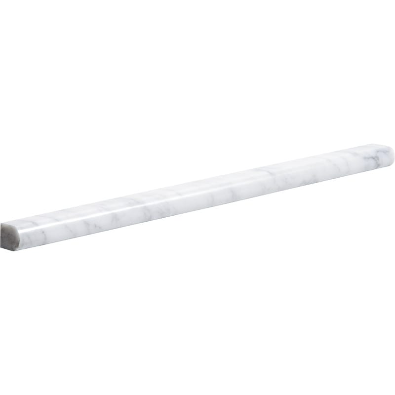 White Carrara C Polished Pencil Liner Marble Mouldings 1/2x12