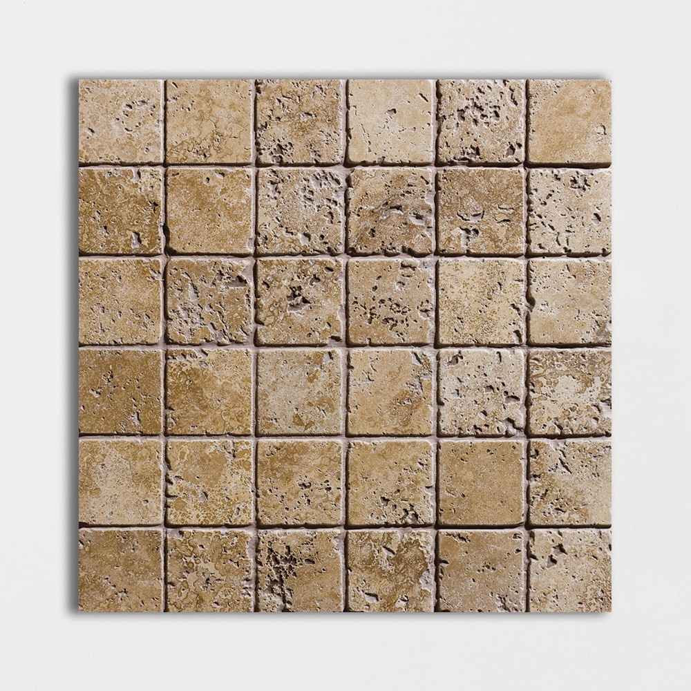 Walnut dark tumbled 2x2 travertine mosaics 12x12 country for Tumbled glass tile