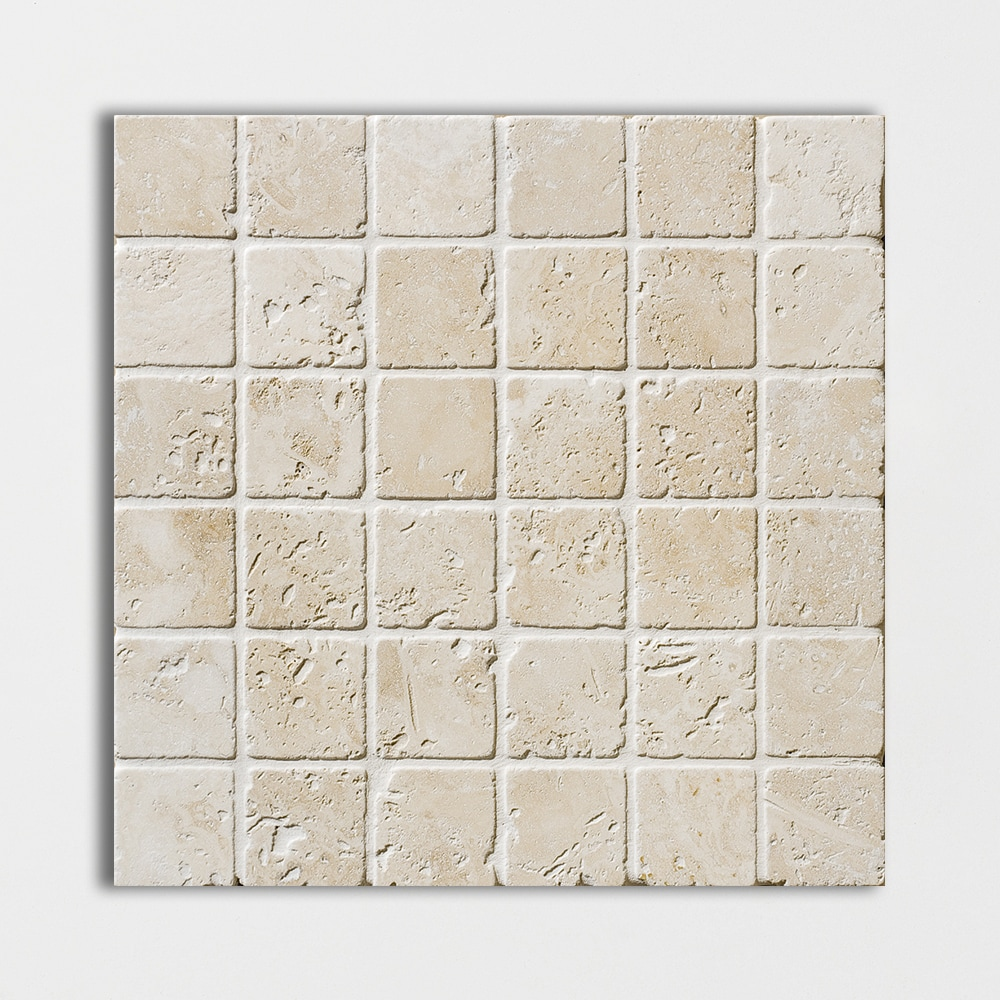 Ivory Tumbled 12x12 2x2 Travertine Mosaics