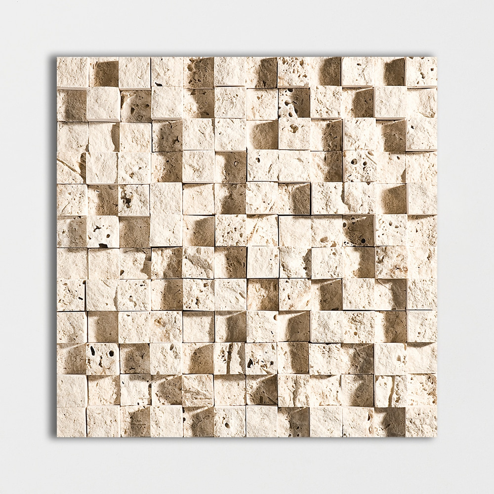 Ivory Rock Face 12 5/8x12 5/8 1x1 Travertine Wall Mosaics