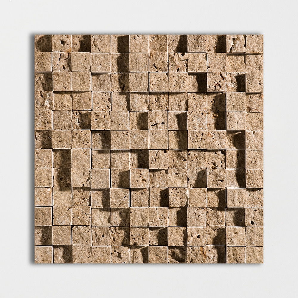 Walnut Dark Rock Face 1x1 Travertine Mosaics 12 5/8x12 5/8