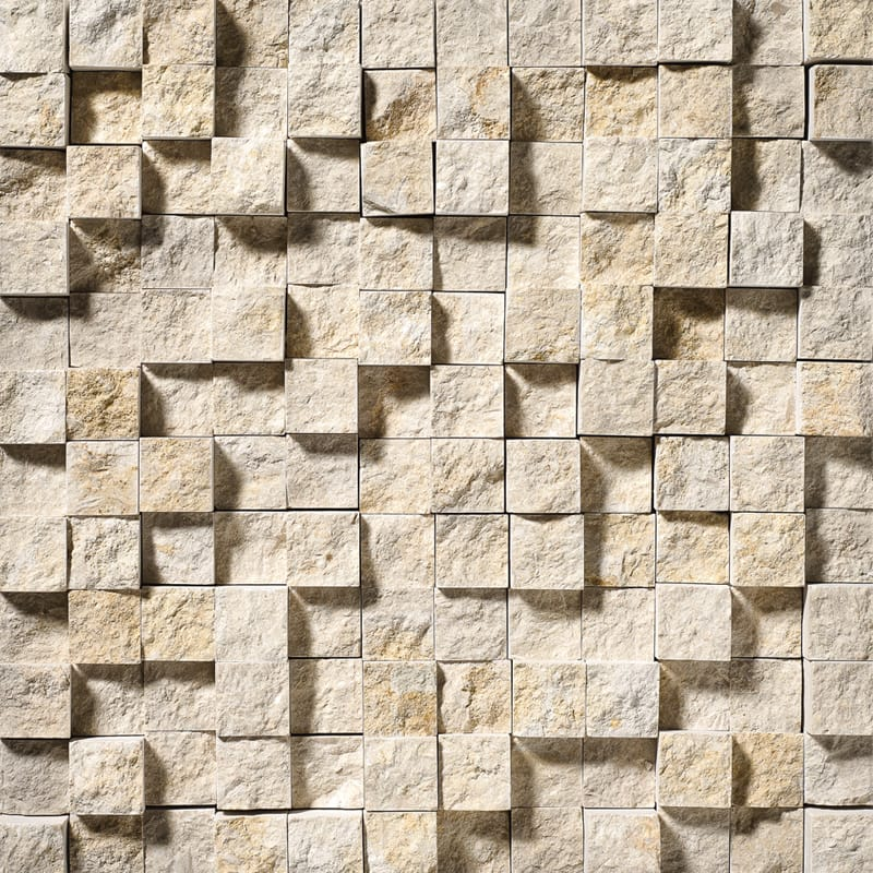 Seashell Rock Face 12 5/8x12 5/8 1x1 Limestone Wall Mosaics