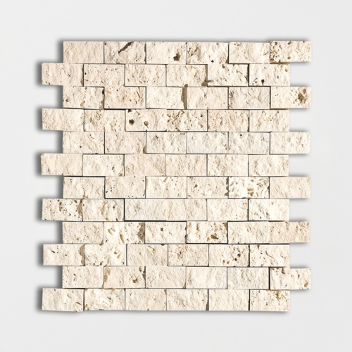 Ivory Rock Face 1×2 Travertine Mosaics 12 5/8×12 5/8