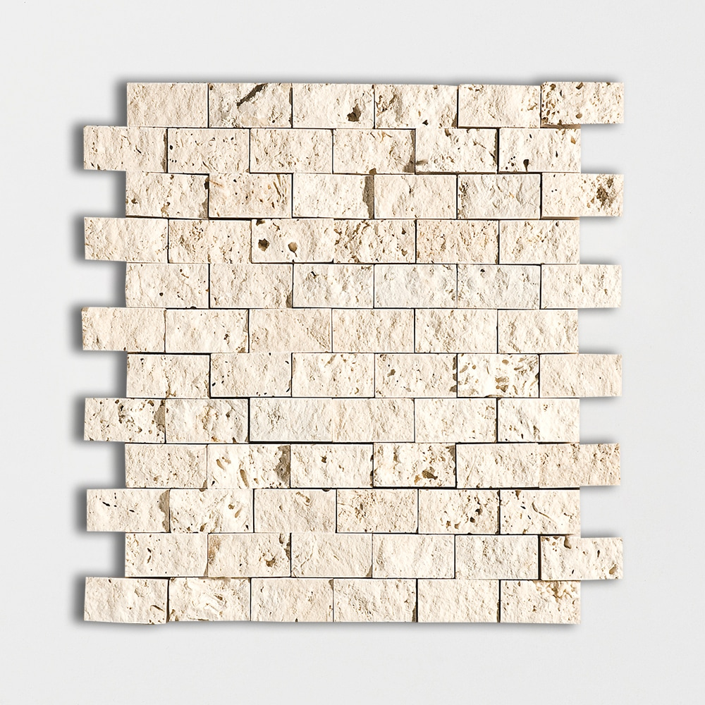 Ivory Rock Face 12 5/8x12 5/8 1x2 Travertine Wall Mosaics