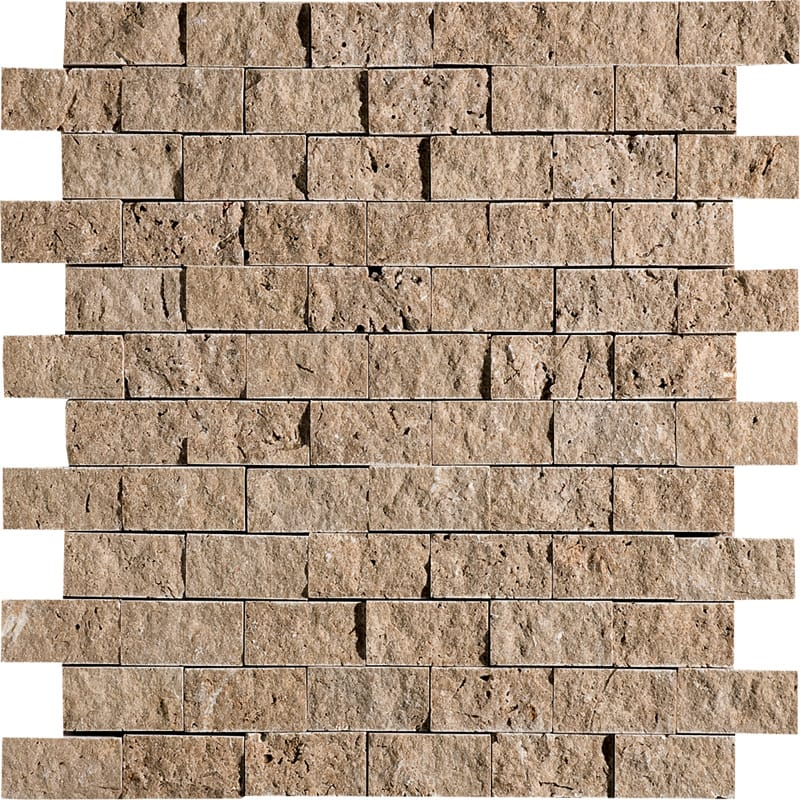 Walnut Dark Rock Face 12 5/8x12 5/8 1x2 Travertine Wall Mosaics