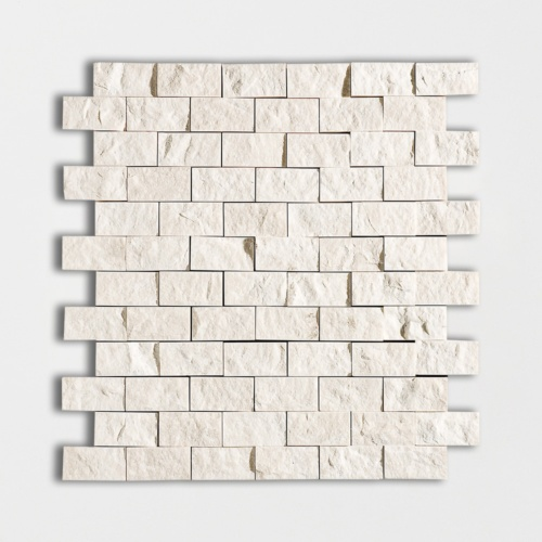 Desert Cream Rock Face 1×2 Marble Mosaics 12 5/8×12 5/8