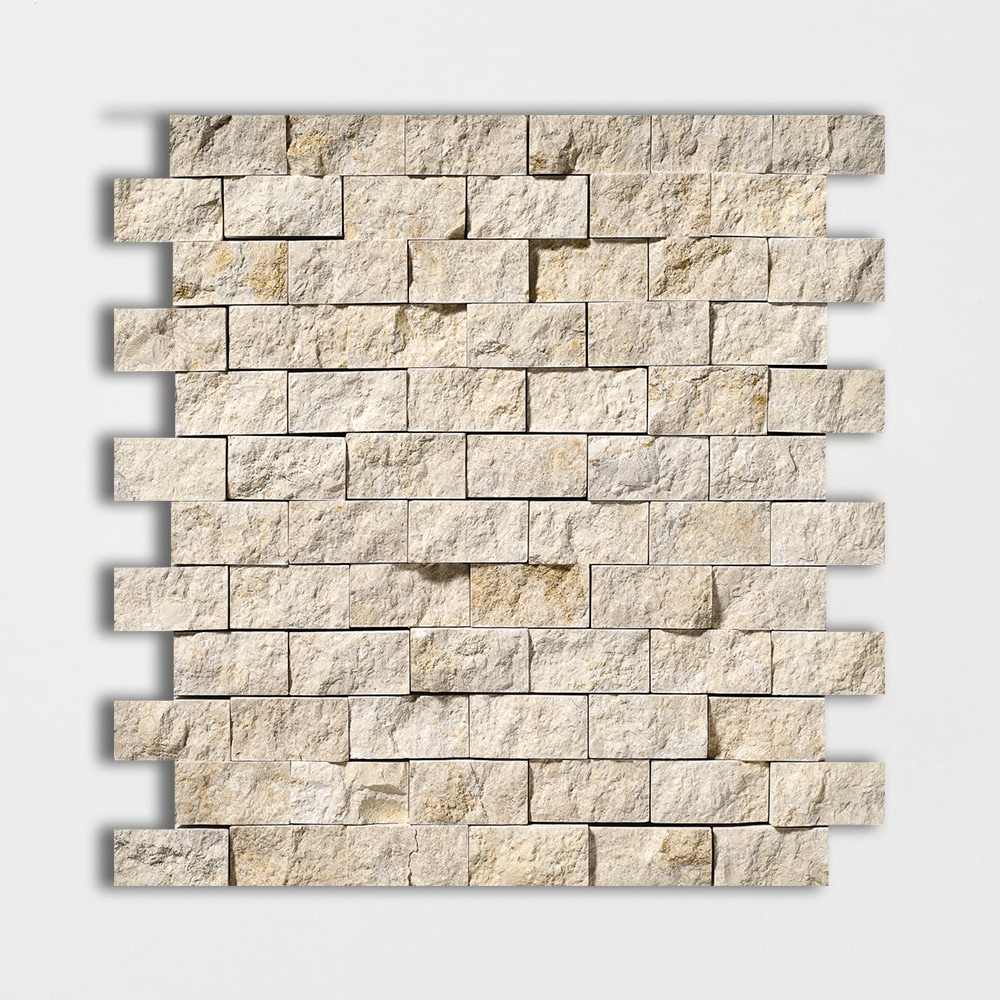 Seashell Rock Face 12 5/8x12 5/8 1x2 Limestone Wall Mosaics