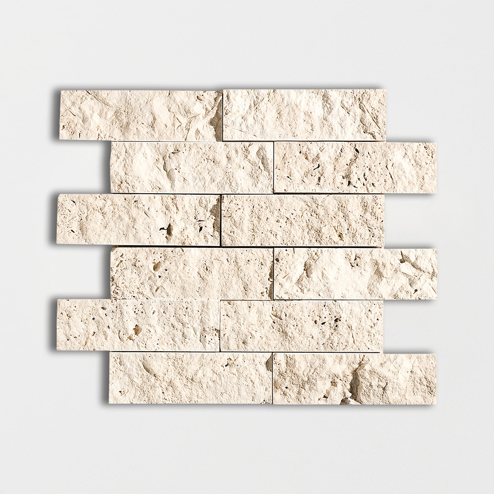 Ivory Rock Face 11 3/4x13 3/4 2x6 Travertine Wall Mosaics