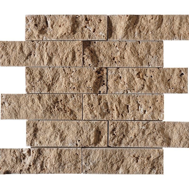 Walnut Dark Rock Face 11 3/4x13 3/4 2x6 Travertine Wall Mosaics