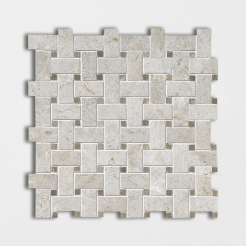 Silver Clouds&tobacco Polished Basket Weave Marble Mosaics 12×12