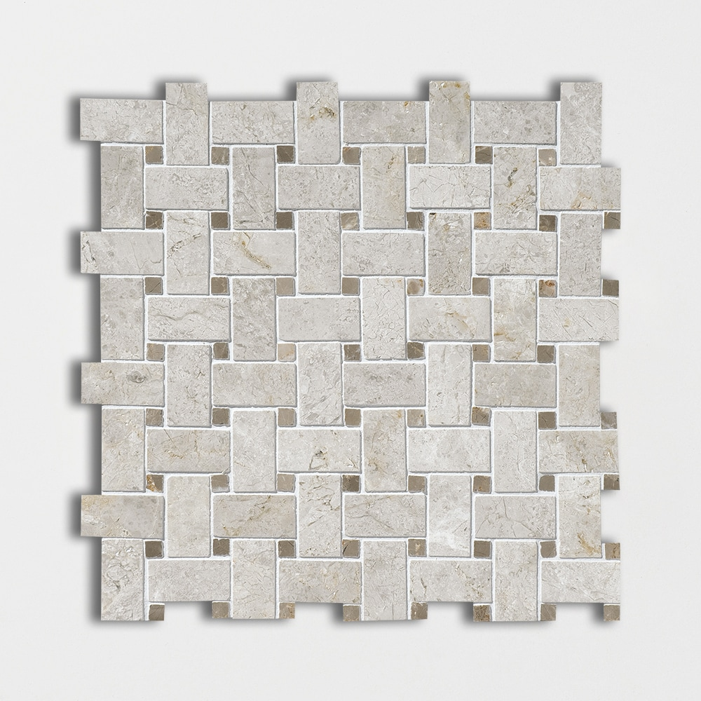 Silver Clouds&tobacco Polished Basket Weave Marble Mosaics 12x12