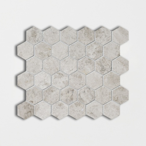 Silver Clouds Polished Hexagon Marble Mosaics 10 3/8×12