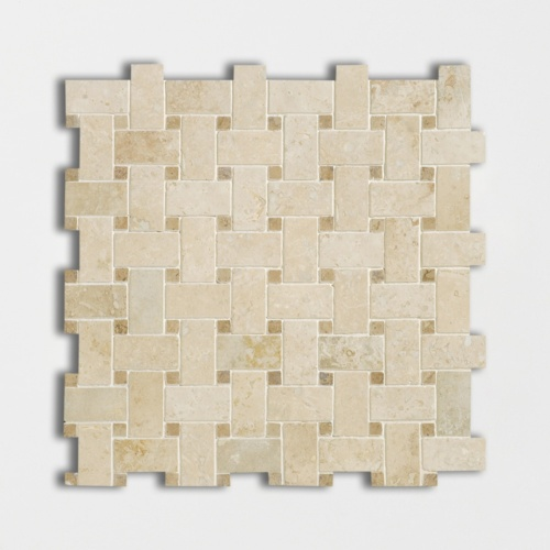 Ivory Honed&filled Basket Weave Travertine Mosaics 12×12