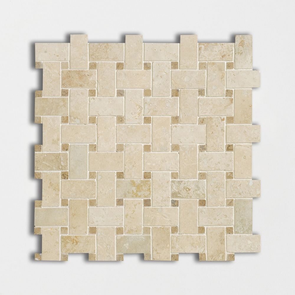 Ivory Honed&filled Basket Weave Travertine Mosaics 12x12