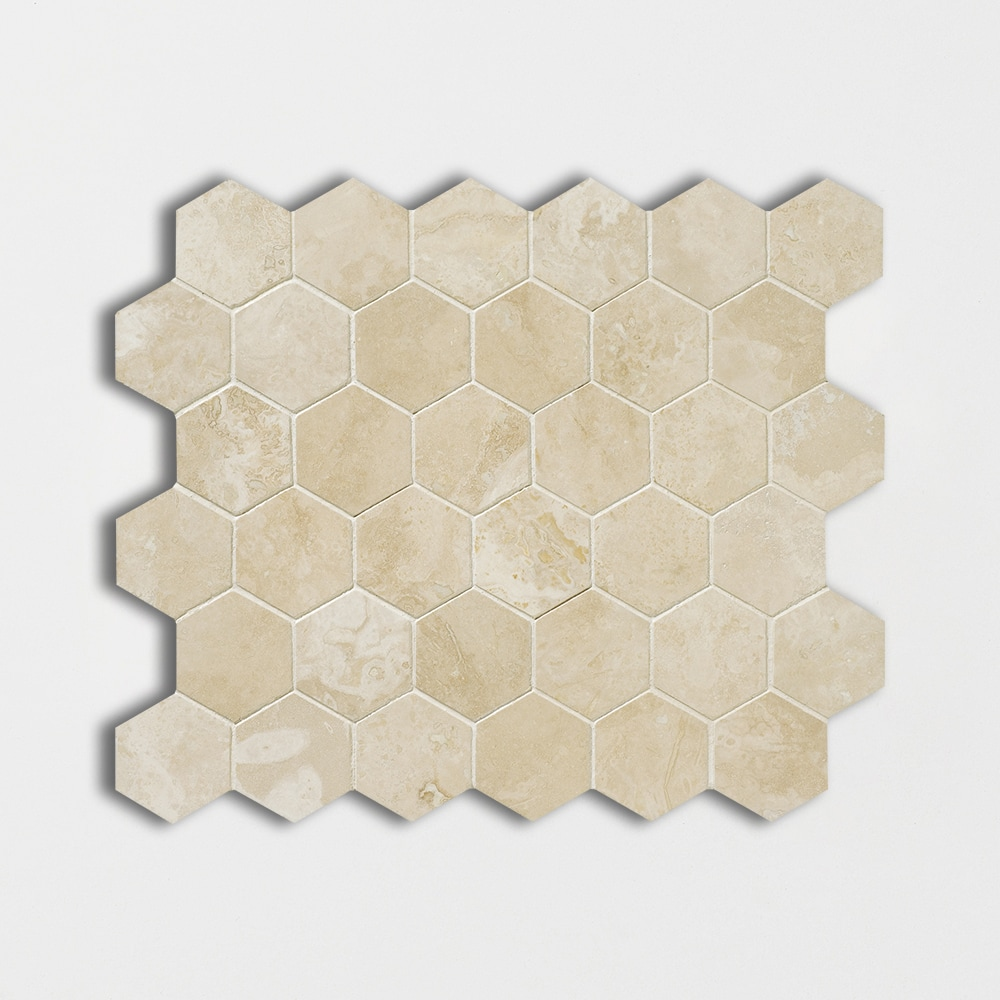 Ivory Honed&filled 10 3/8x12 Hexagon Travertine Mosaics