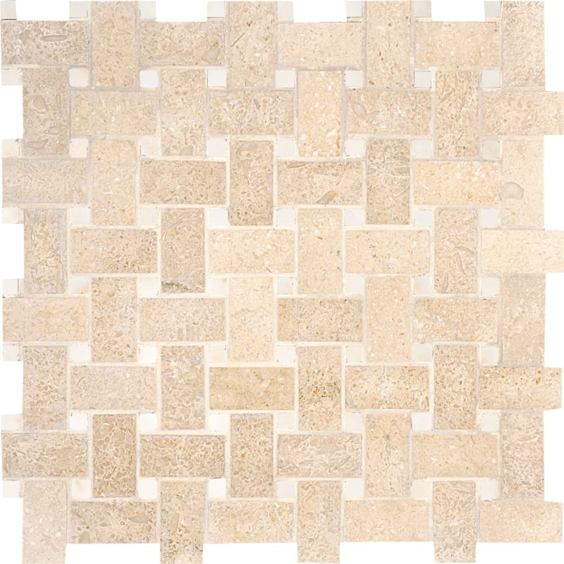 Seashell Honed 12x12 Basket Weave Limestone Mosaics