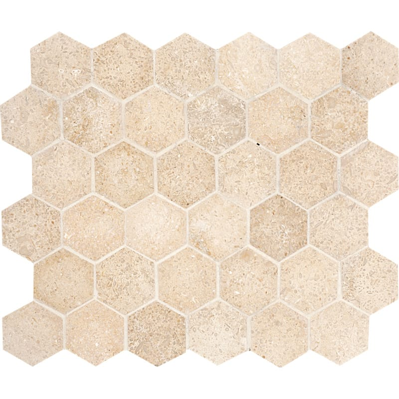 Seashell Honed 10 3/8x12 Hexagon Limestone Mosaics