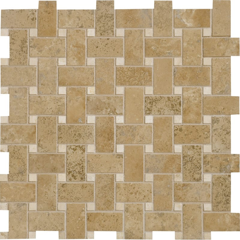 Walnut Dark Honed&filled Basket Weave Travertine Mosaics 12x12