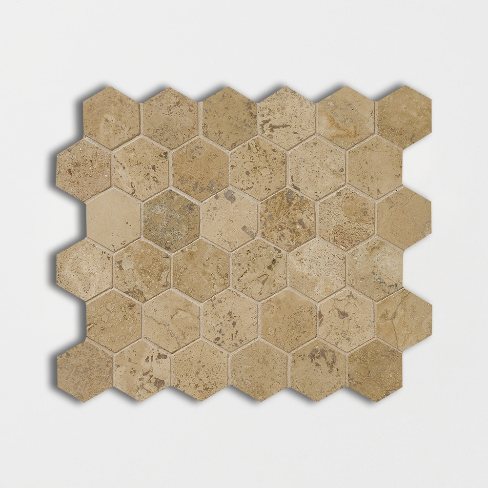 Walnut Dark Honed&filled 10 3/8x12 Hexagon Travertine Mosaics