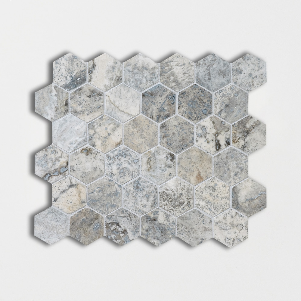 Silverado Honed&filled 10 3/8x12 Hexagon Travertine Mosaics