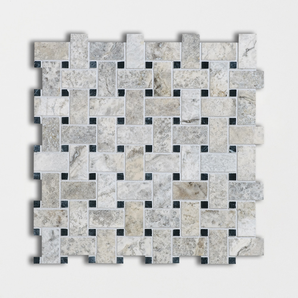 Silverado Honed&filled Basket Weave Travertine Mosaics 12x12