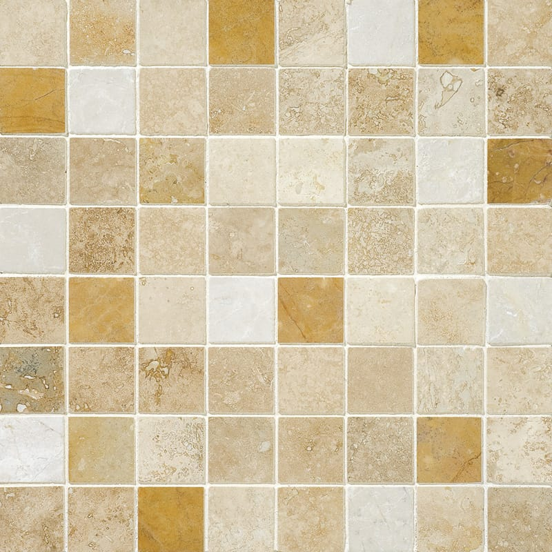 Aspen Dawn Honed&filled 1x1 Travertine Mosaics 12x12