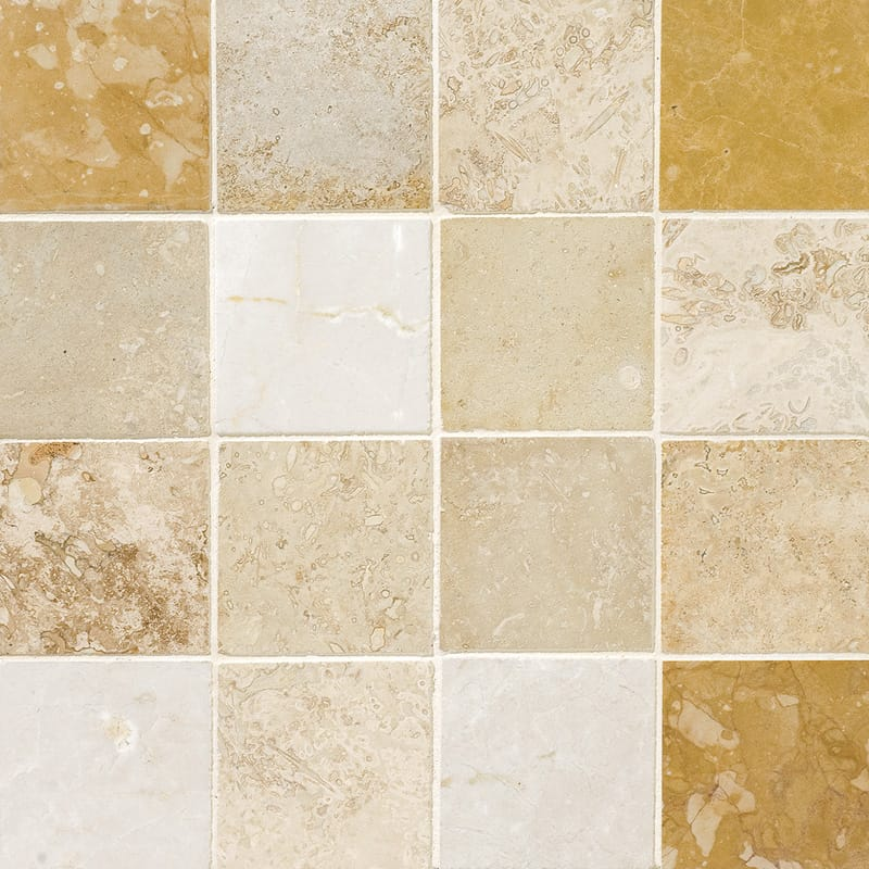 Aspen Dawn Honed&filled 3x3 Travertine Mosaics 12x12