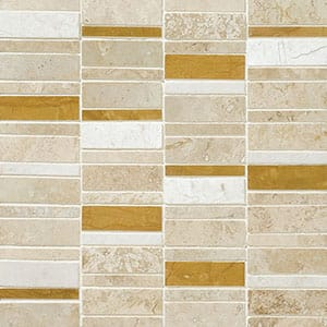 Aspen Dawn Honed&filled Broken Trail Travertine Mosaics 12x12