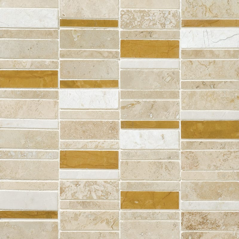 Aspen Dawn Honed&filled 12x12 Broken Trail Travertine Mosaics