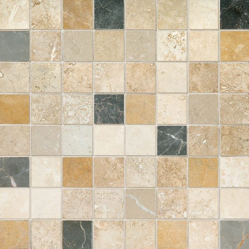 Aspen Dusk Honed&filled 1x1 Travertine Mosaics 12x12