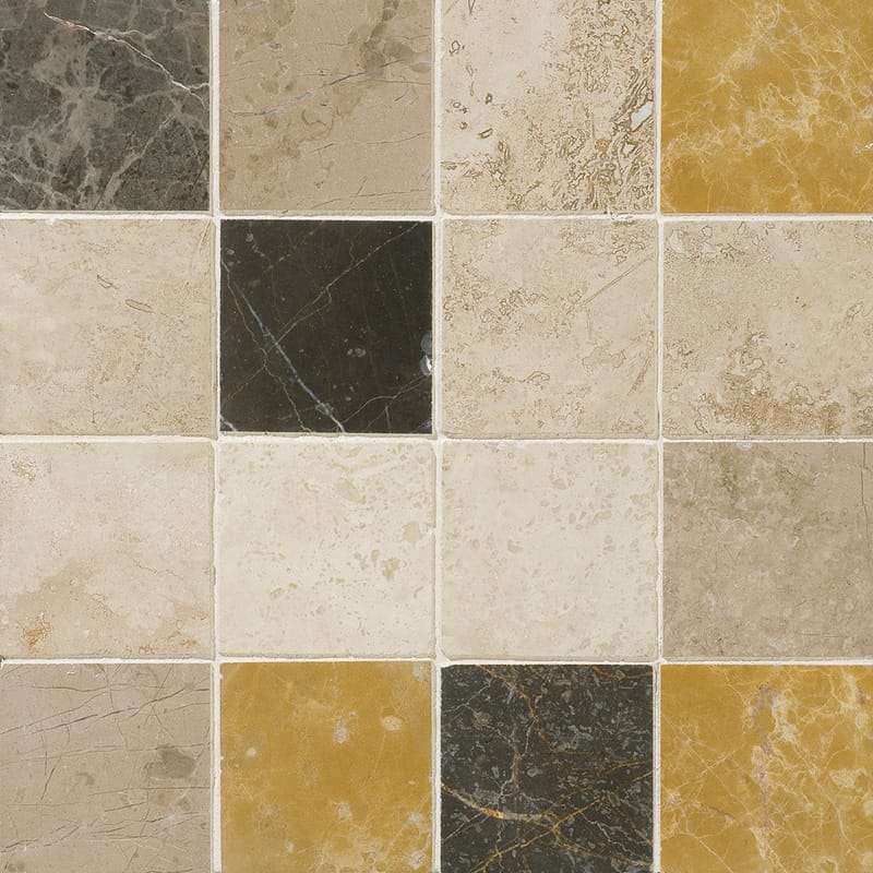 Aspen Dusk Honed&filled 12x12 3x3 Travertine Mosaics