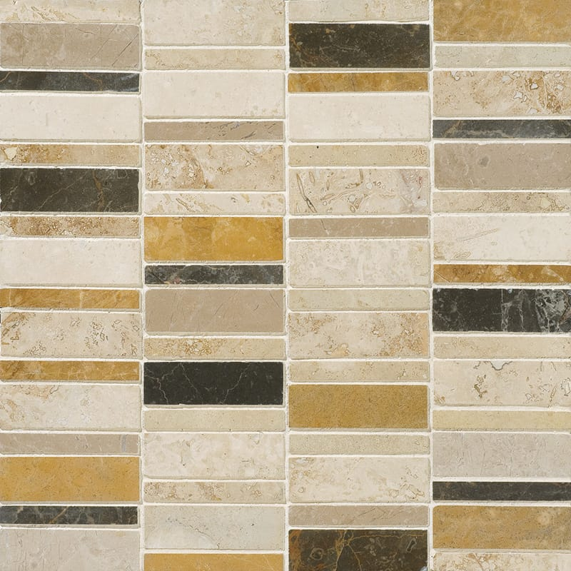 Aspen Dusk Honed&filled Broken Trail Travertine Mosaics 12x12