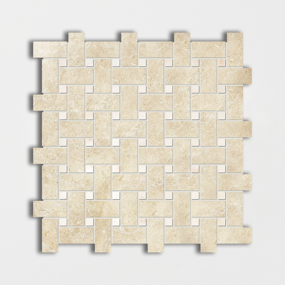 Casablanca&afyon Sugar Honed 12x12 Basket Weave Limestone Mosaics