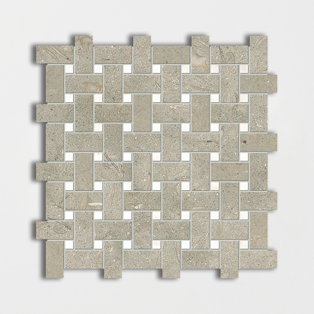 Olive Green&afyon Sugar Honed Basket Weave Limestone Mosaics 12x12