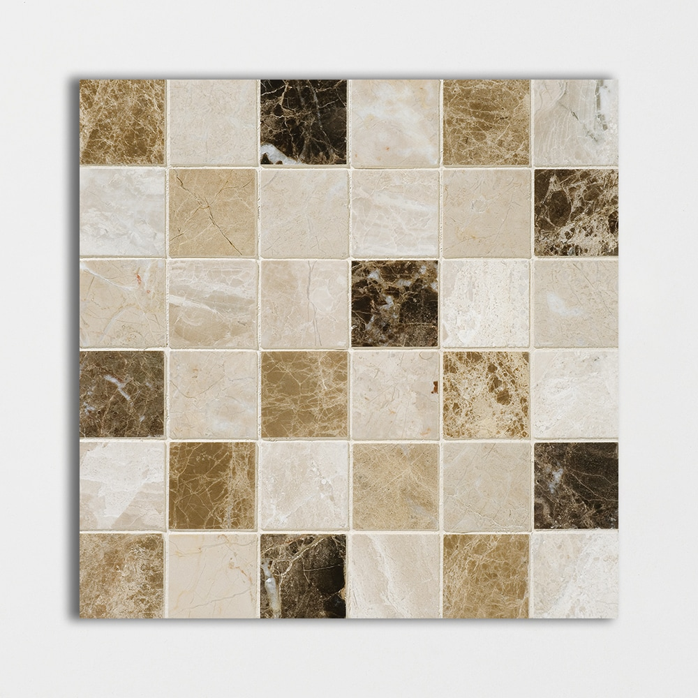 Milano Dark Blend Polished 2x2 Marble Mosaics 12x12