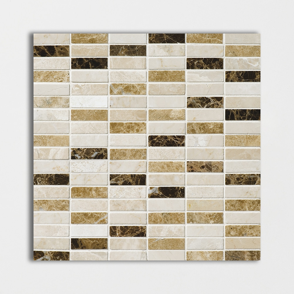 Milano Dark Blend Polished 5/8x2 Marble Mosaics 12x12