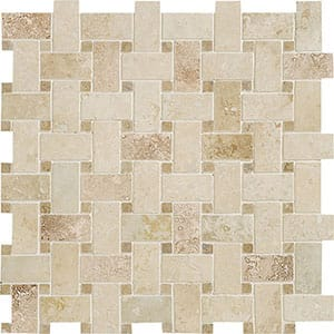 Canyon&walnut Dark Honed&filled Basket Weave Travertine Mosaics 12x12