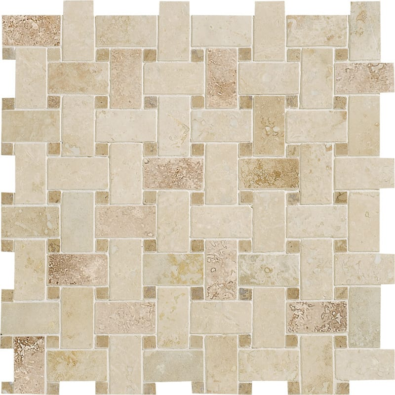 Canyon&walnut Dark Honed&filled 12x12 Basket Weave Travertine Mosaics