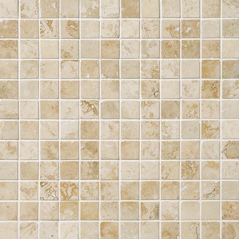 Canyon Honed&filled 1x1 Travertine Mosaics 12x12