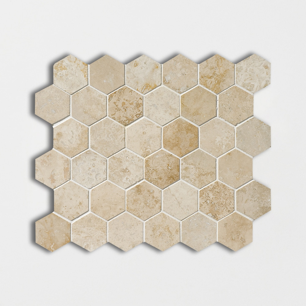 Canyon Honed&filled 10 3/8x12 Hexagon Travertine Mosaics