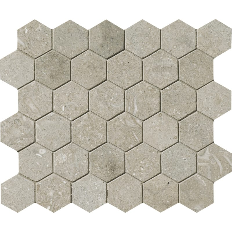Olive Green Honed 10 3/8x12 Hexagon Limestone Mosaics