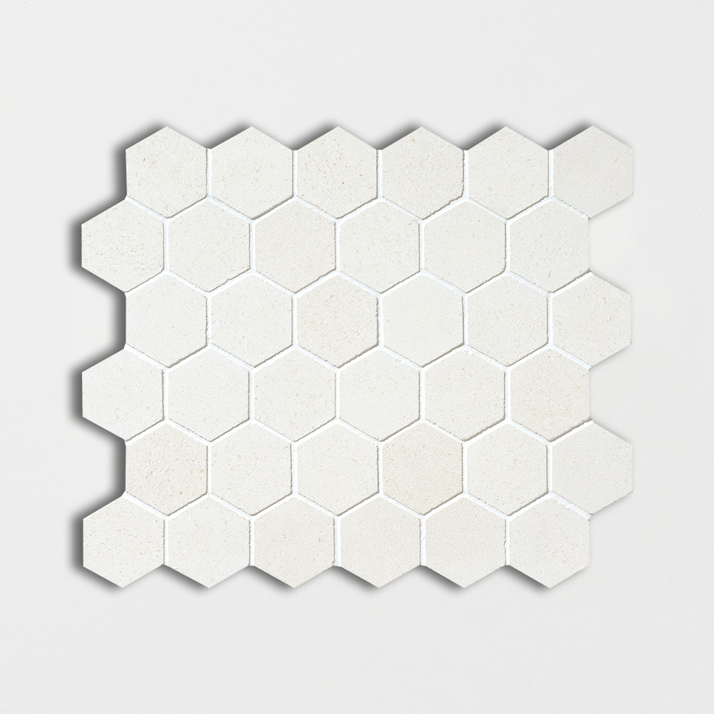 Champagne Honed Hexagon Limestone Mosaics 10 3/8x12