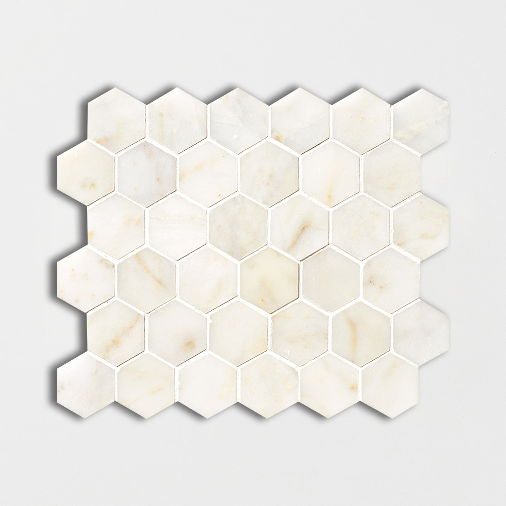 Afyon Sugar Polished Hexagon Marble Mosaics 10 3/8x12