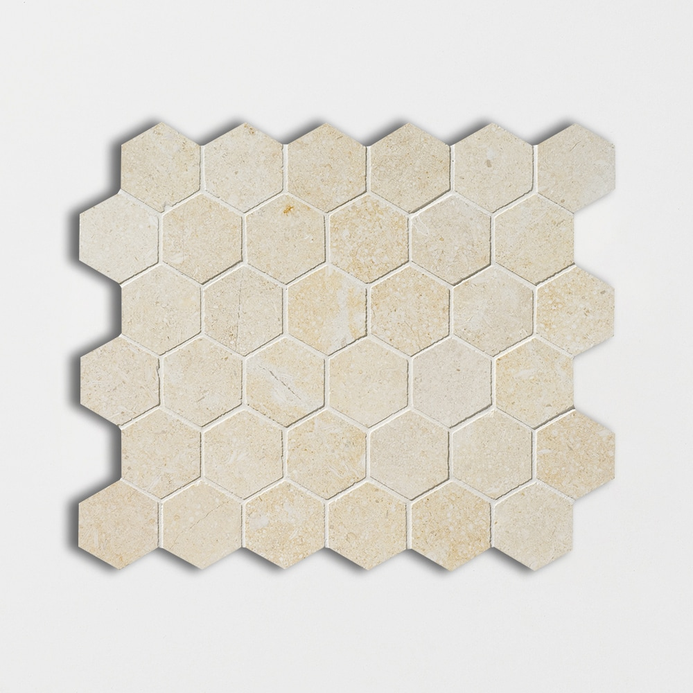 Casablanca Honed 10 3/8x12 Hexagon Limestone Mosaics